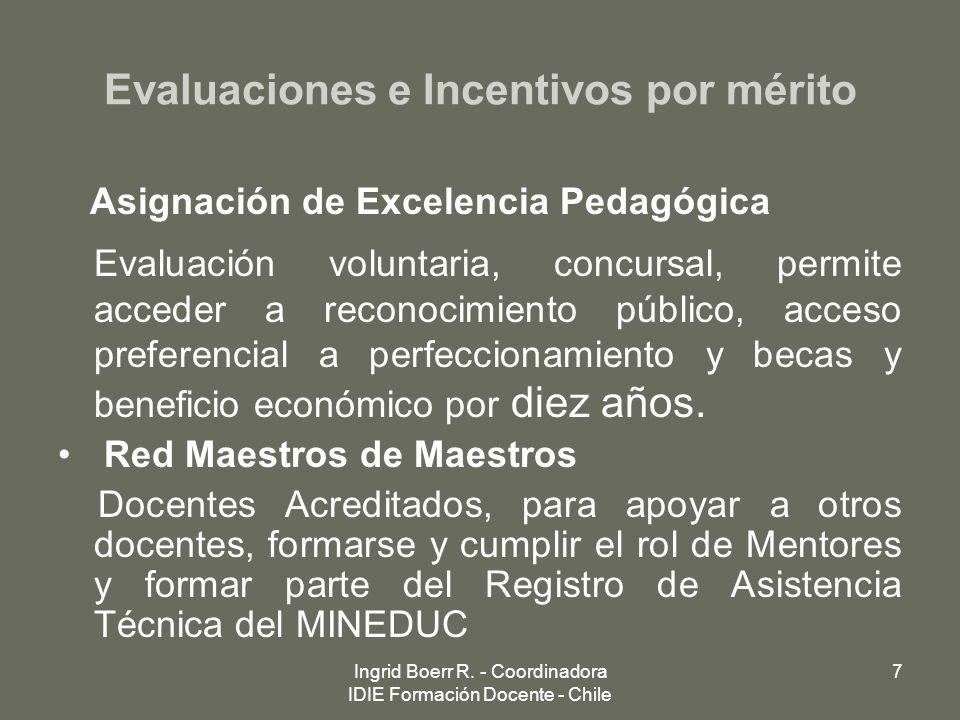 Ingrid Boerr R. - Coordinadora IDIE Formación Docente - Chile 7 Evaluaciones e Incentivos por mérito Asignación de Excelencia Pedagógica Evaluación vo