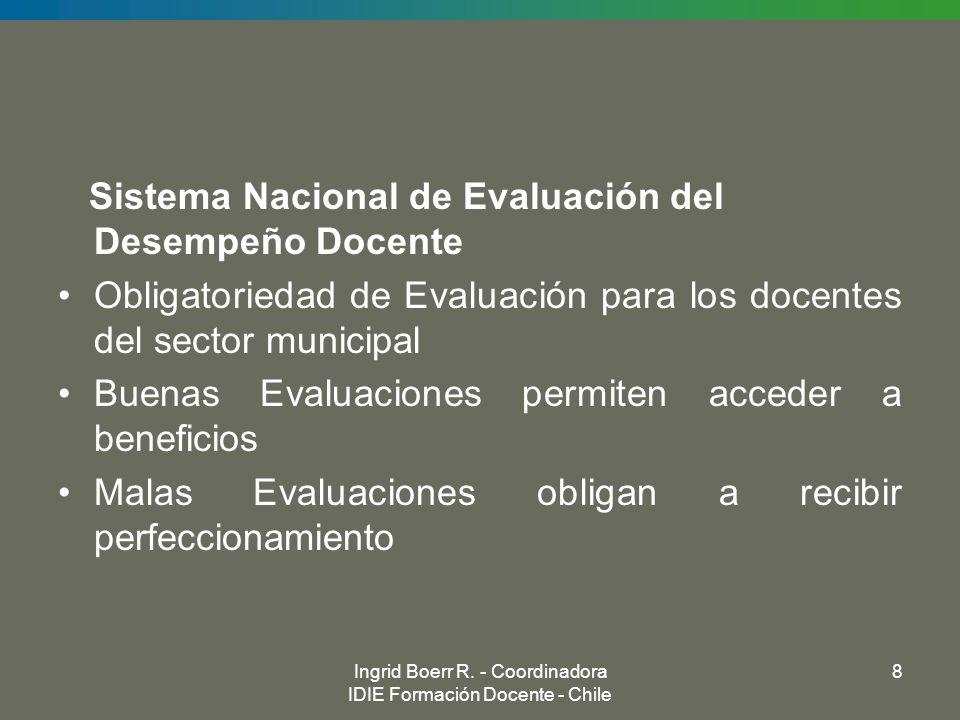 Ingrid Boerr R. - Coordinadora IDIE Formación Docente - Chile 8 Sistema Nacional de Evaluación del Desempeño Docente Obligatoriedad de Evaluación para