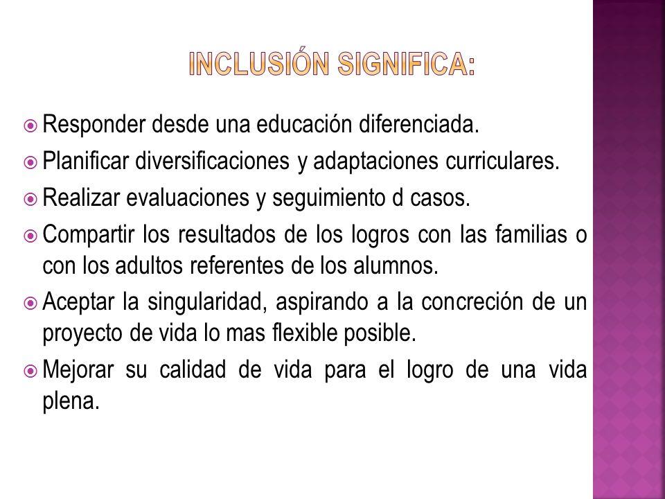 Responder desde una educación diferenciada. Planificar diversificaciones y adaptaciones curriculares. Realizar evaluaciones y seguimiento d casos. Com