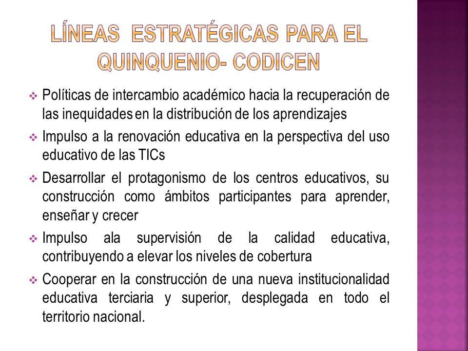 Políticas de intercambio académico hacia la recuperación de las inequidades en la distribución de los aprendizajes Impulso a la renovación educativa e