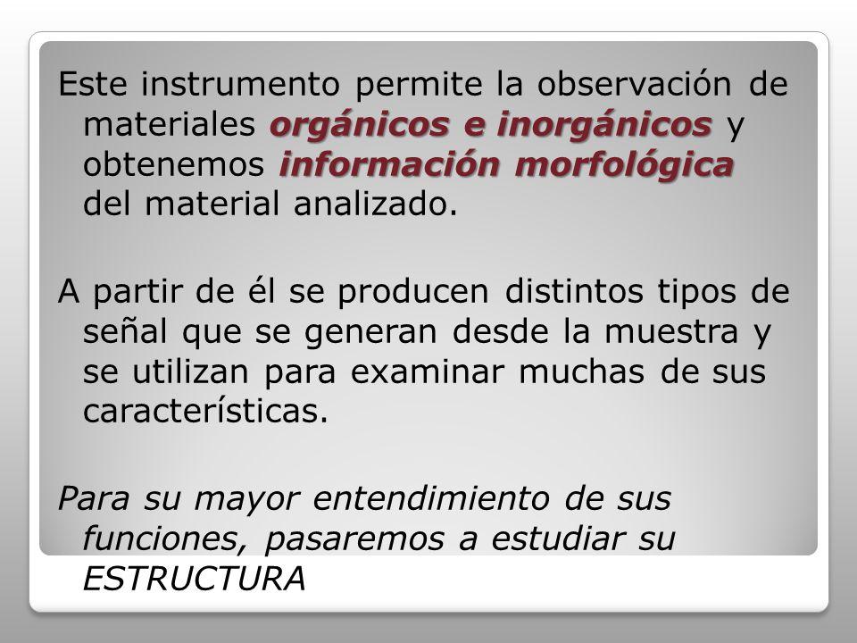 orgánicos e inorgánicos información morfológica Este instrumento permite la observación de materiales orgánicos e inorgánicos y obtenemos información morfológica del material analizado.