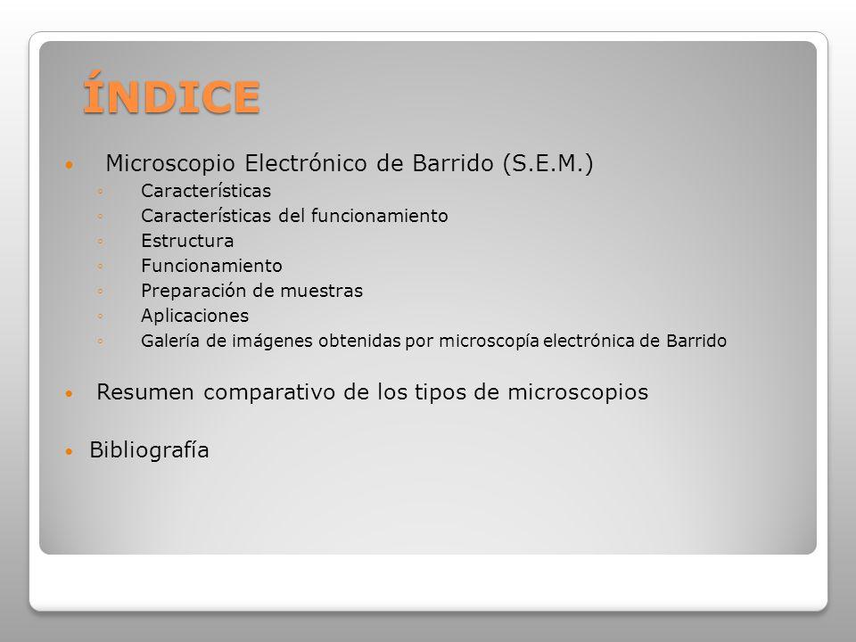 Microscopio Electrónico de Barrido (S.E.M.) Características Características del funcionamiento Estructura Funcionamiento Preparación de muestras Aplicaciones Galería de imágenes obtenidas por microscopía electrónica de Barrido Resumen comparativo de los tipos de microscopios Bibliografía ÍNDICE