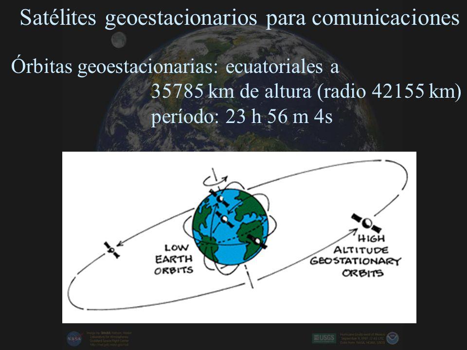 Satélites geoestacionarios para comunicaciones Órbitas geoestacionarias: ecuatoriales a 35785 km de altura (radio 42155 km) período: 23 h 56 m 4s