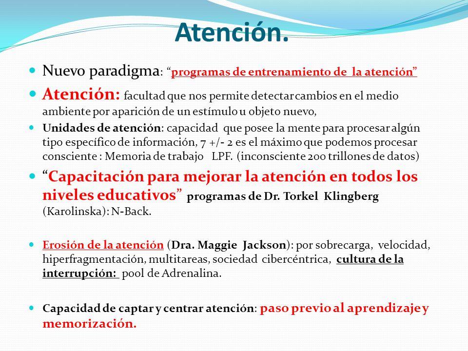 Atención. Nuevo paradigma : programas de entrenamiento de la atención Atención: facultad que nos permite detectar cambios en el medio ambiente por apa