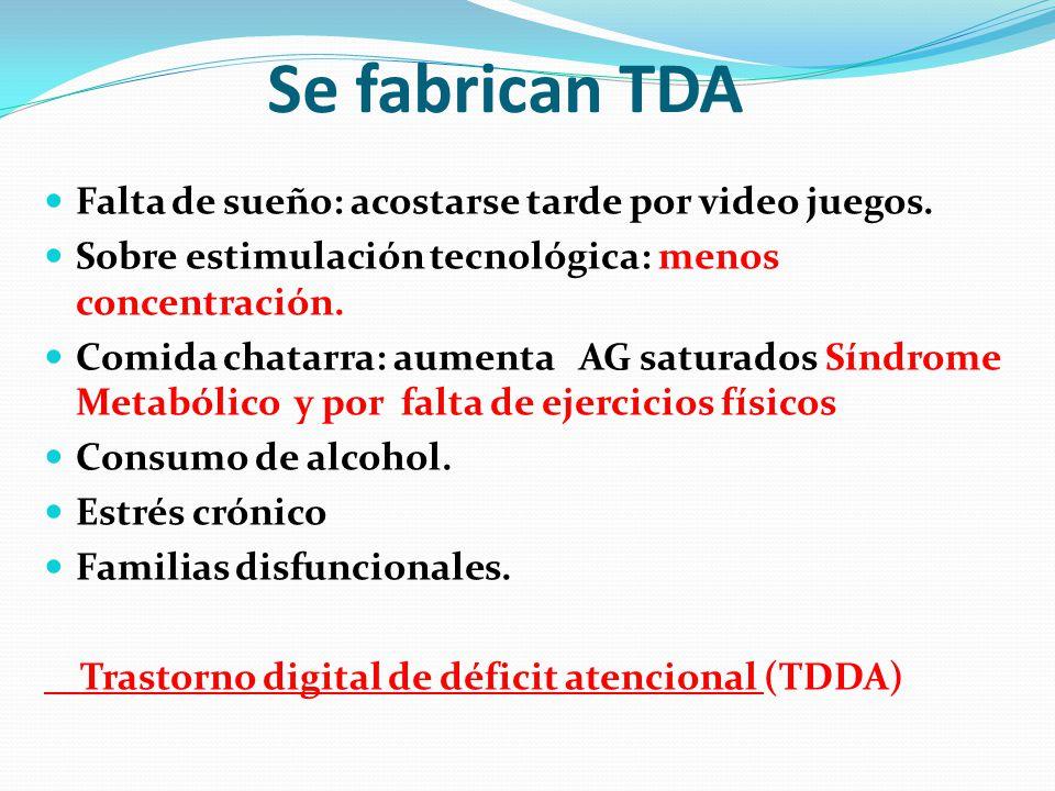 Se fabrican TDA Falta de sueño: acostarse tarde por video juegos. Sobre estimulación tecnológica: menos concentración. Comida chatarra: aumenta AG sat