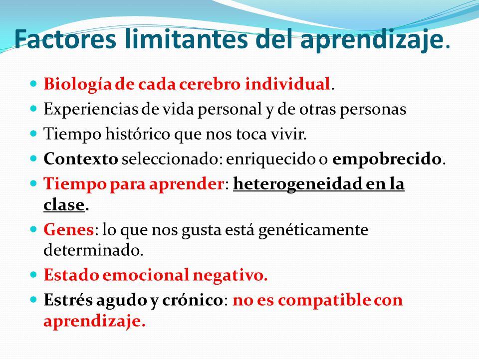 Factores limitantes del aprendizaje. Biología de cada cerebro individual. Experiencias de vida personal y de otras personas Tiempo histórico que nos t