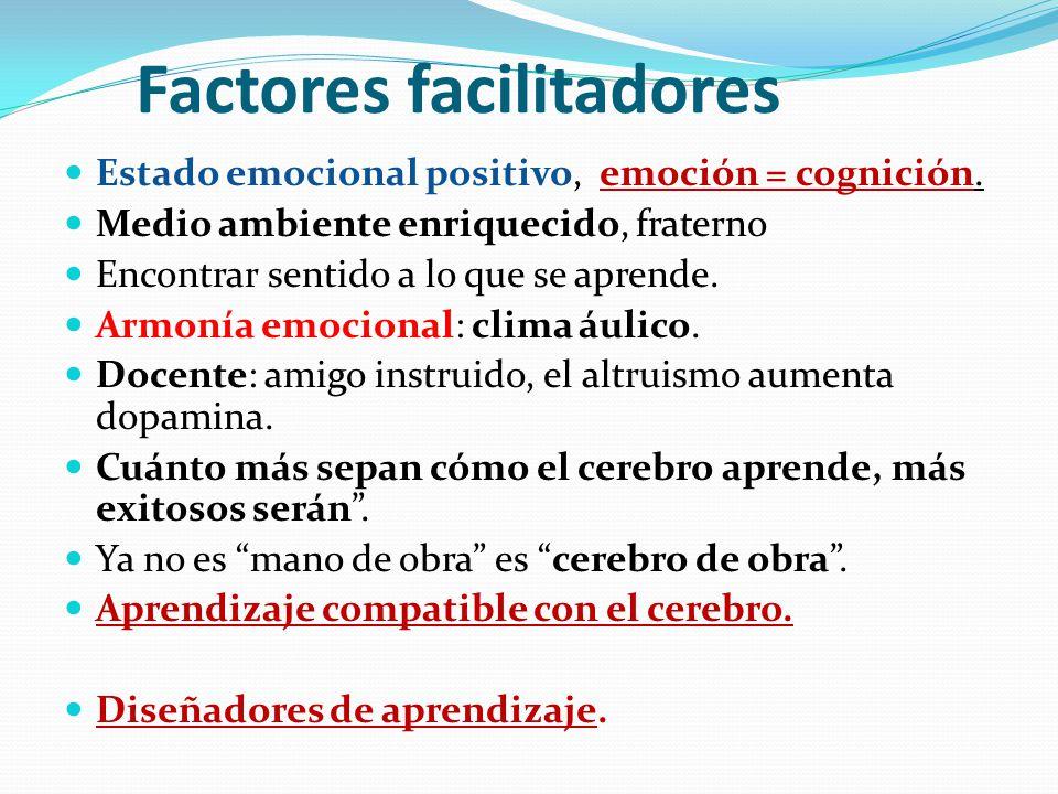 Factores facilitadores Estado emocional positivo, emoción = cognición. Medio ambiente enriquecido, fraterno Encontrar sentido a lo que se aprende. Arm