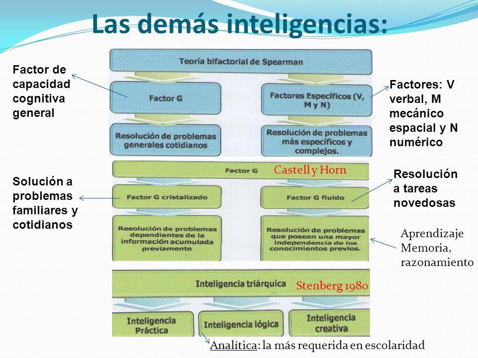 Las demás inteligencias: Stenberg 1980 Castell y Horn Analítica: la más requerida en escolaridad Aprendizaje Memoria, razonamiento Factor de capacidad