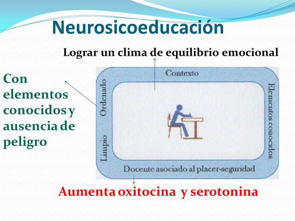 Neurosicoeducación Con elementos conocidos y ausencia de peligro Aumenta oxitocina y serotonina Lograr un clima de equilibrio emocional