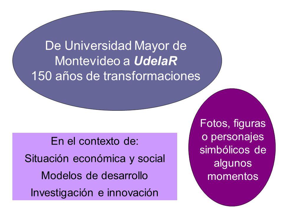 De Universidad Mayor de Montevideo a UdelaR 150 años de transformaciones En el contexto de: Situación económica y social Modelos de desarrollo Investi
