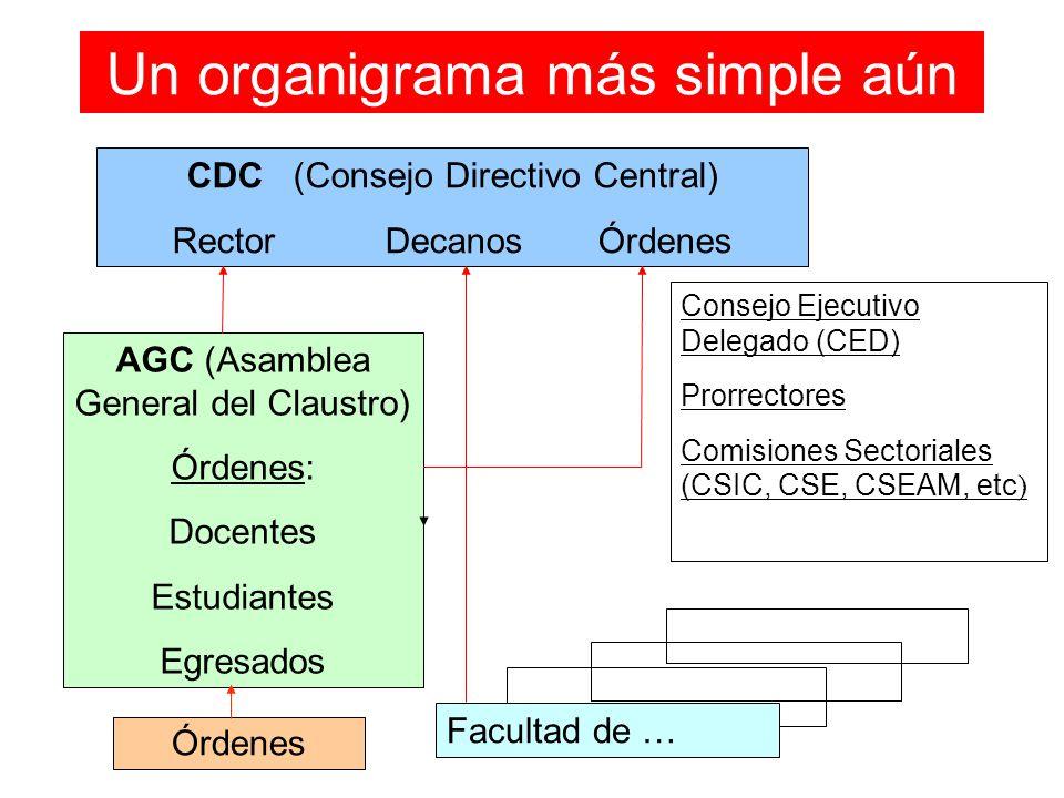 Un organigrama más simple aún CDC (Consejo Directivo Central) RectorDecanosÓrdenes AGC (Asamblea General del Claustro) Órdenes: Docentes Estudiantes E