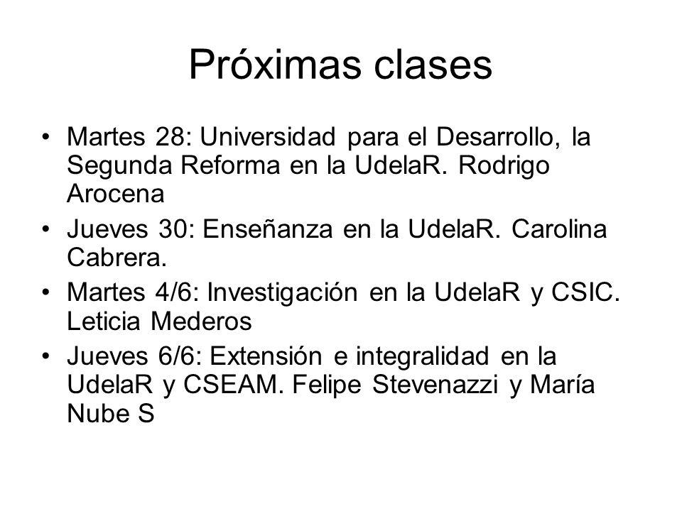 Próximas clases Martes 28: Universidad para el Desarrollo, la Segunda Reforma en la UdelaR. Rodrigo Arocena Jueves 30: Enseñanza en la UdelaR. Carolin