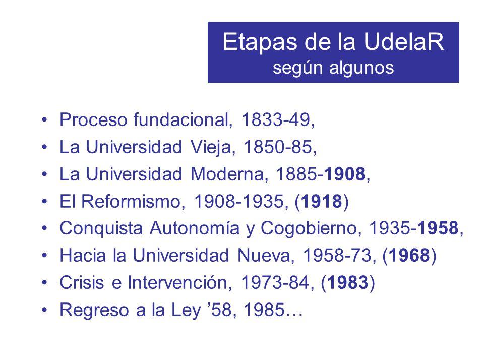Etapas de la UdelaR según algunos Proceso fundacional, 1833-49, La Universidad Vieja, 1850-85, La Universidad Moderna, 1885-1908, El Reformismo, 1908-