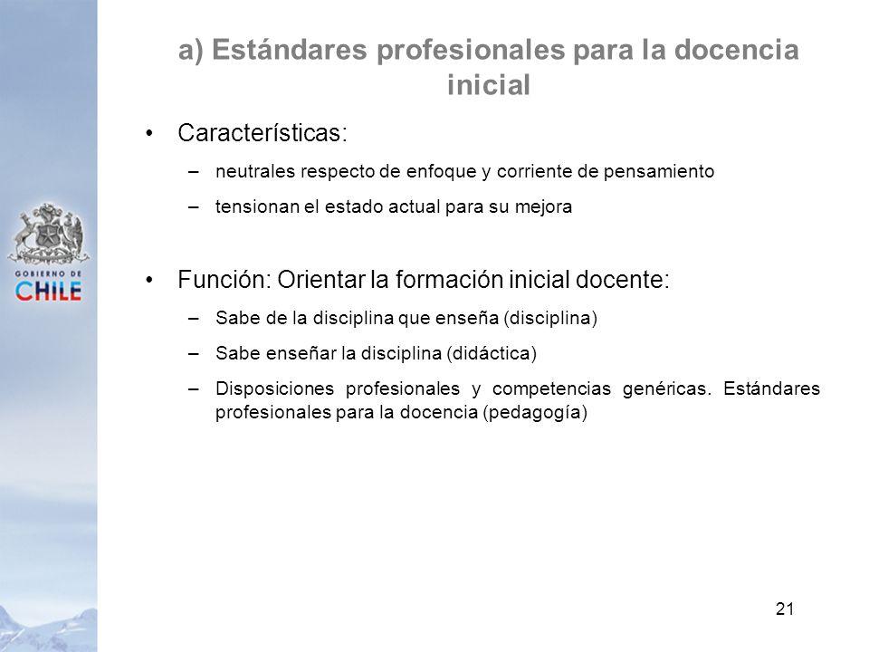 a) Estándares profesionales para la docencia inicial Características: –neutrales respecto de enfoque y corriente de pensamiento –tensionan el estado a