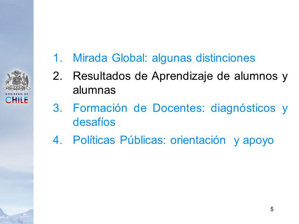 1.Mirada Global: algunas distinciones 2.Resultados de Aprendizaje de alumnos y alumnas 3.Formación de Docentes: diagnósticos y desafíos 4.Políticas Pú