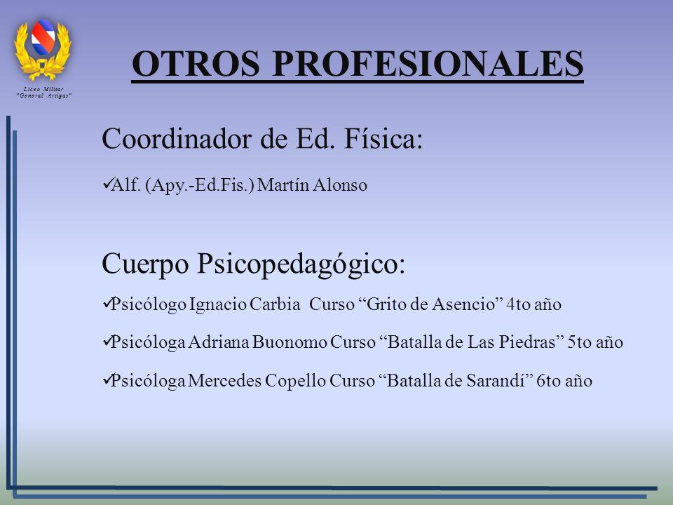OTROS PROFESIONALES Coordinador de Ed. Física: Alf. (Apy.-Ed.Fis.) Martín Alonso Cuerpo Psicopedagógico: Psicólogo Ignacio Carbia Curso Grito de Asenc