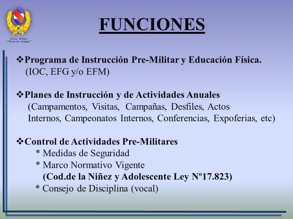 FUNCIONES Programa de Instrucción Pre-Militar y Educación Física. (IOC, EFG y/o EFM) Planes de Instrucción y de Actividades Anuales (Campamentos, Visi