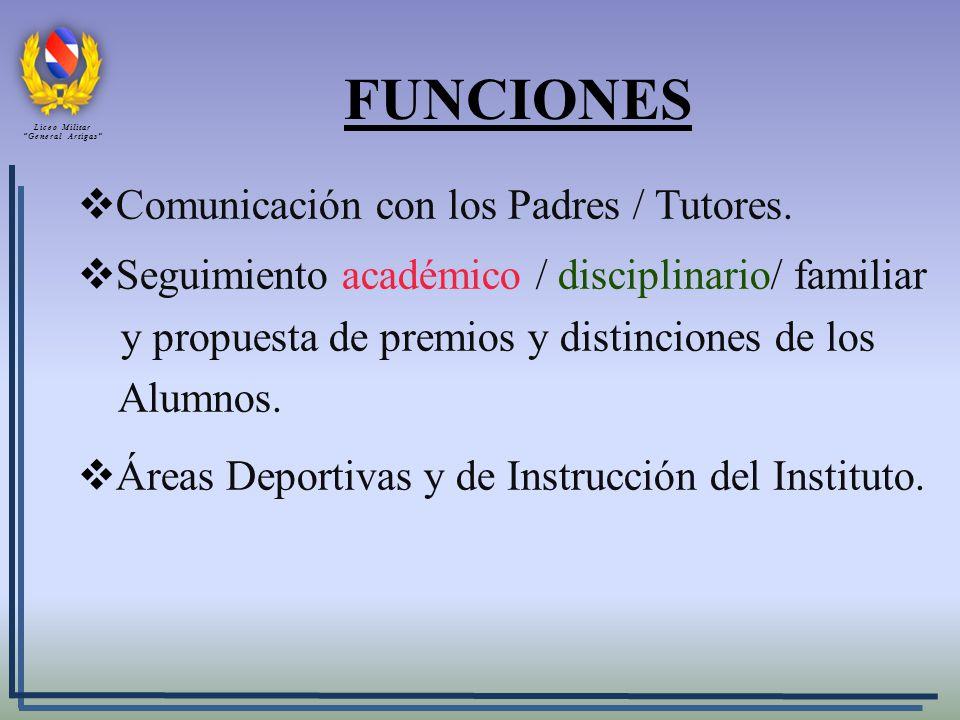 FUNCIONES Comunicación con los Padres / Tutores. Seguimiento académico / disciplinario/ familiar y propuesta de premios y distinciones de los Alumnos.