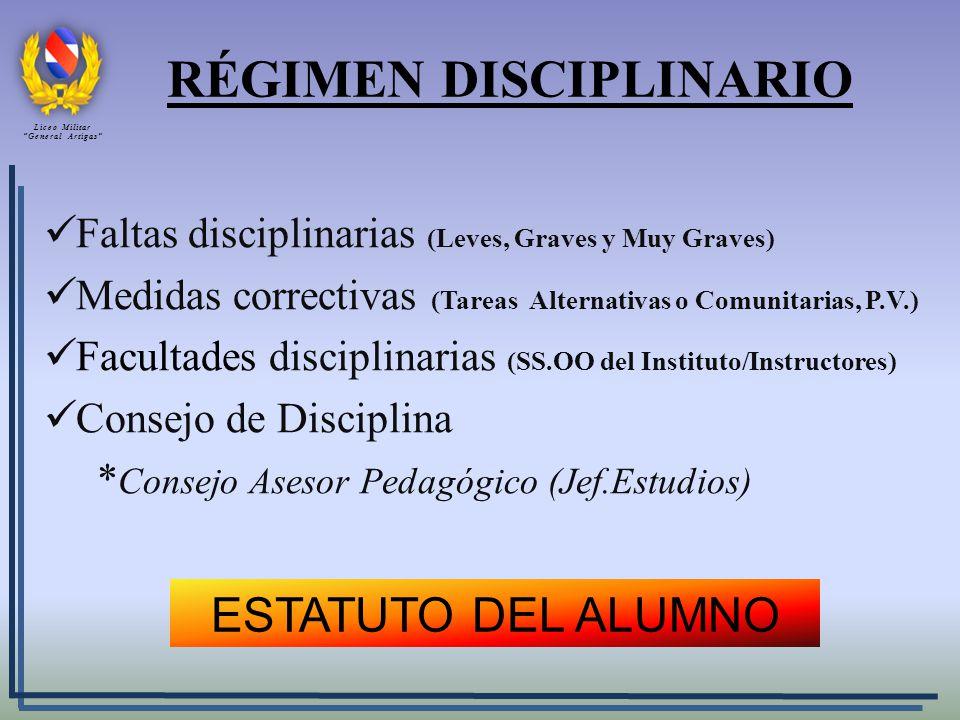 RÉGIMEN DISCIPLINARIO Faltas disciplinarias (Leves, Graves y Muy Graves) Medidas correctivas (Tareas Alternativas o Comunitarias, P.V.) Facultades dis