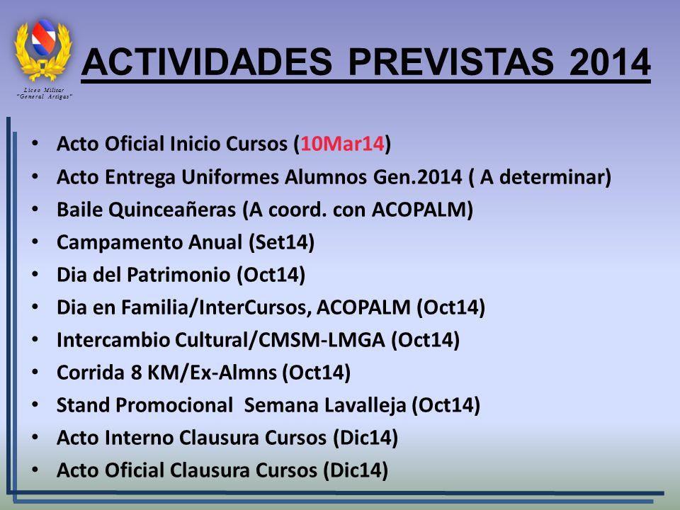 Acto Oficial Inicio Cursos (10Mar14) Acto Entrega Uniformes Alumnos Gen.2014 ( A determinar) Baile Quinceañeras (A coord. con ACOPALM) Campamento Anua
