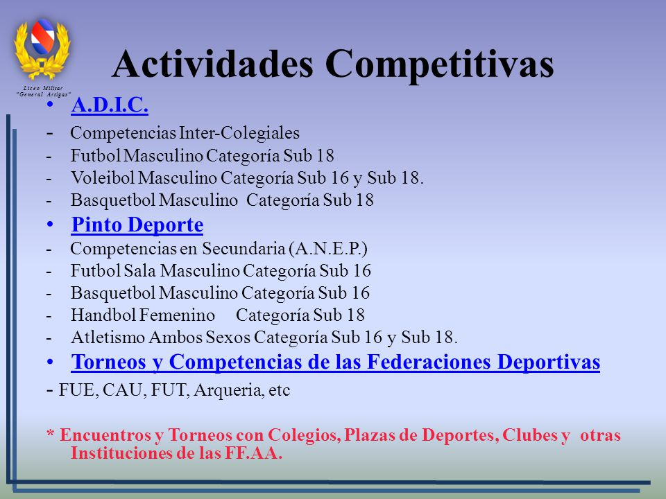 Actividades Competitivas A.D.I.C.