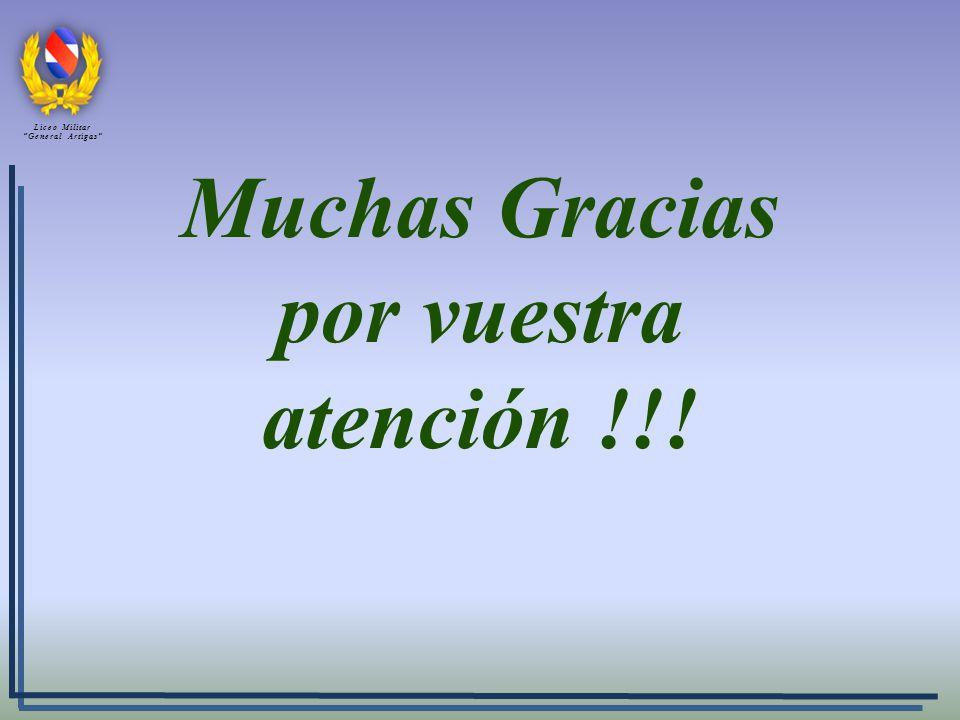 Muchas Gracias por vuestra atención !!! Liceo Militar General Artigas