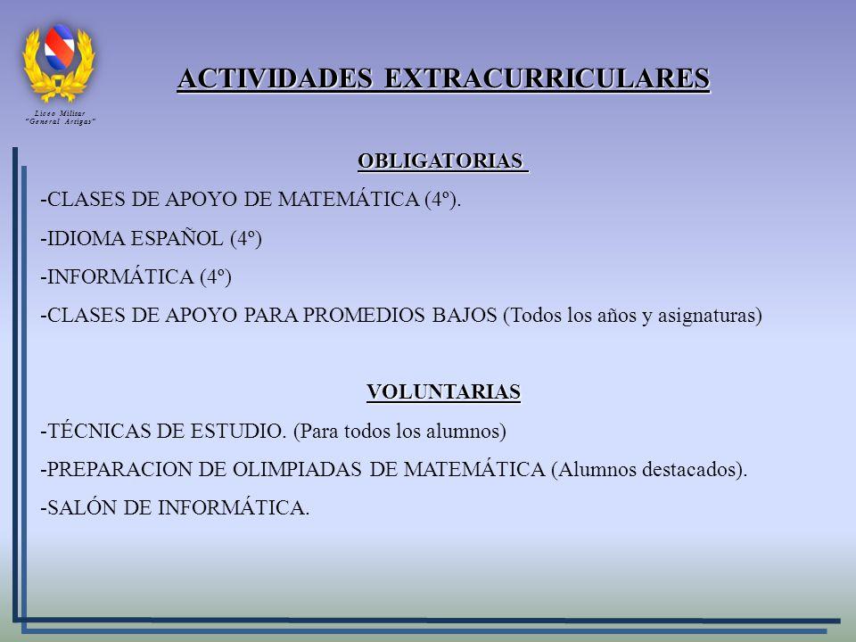 ACTIVIDADES EXTRACURRICULARES OBLIGATORIAS -CLASES DE APOYO DE MATEMÁTICA (4º). -IDIOMA ESPAÑOL (4º) -INFORMÁTICA (4º) -CLASES DE APOYO PARA PROMEDIOS
