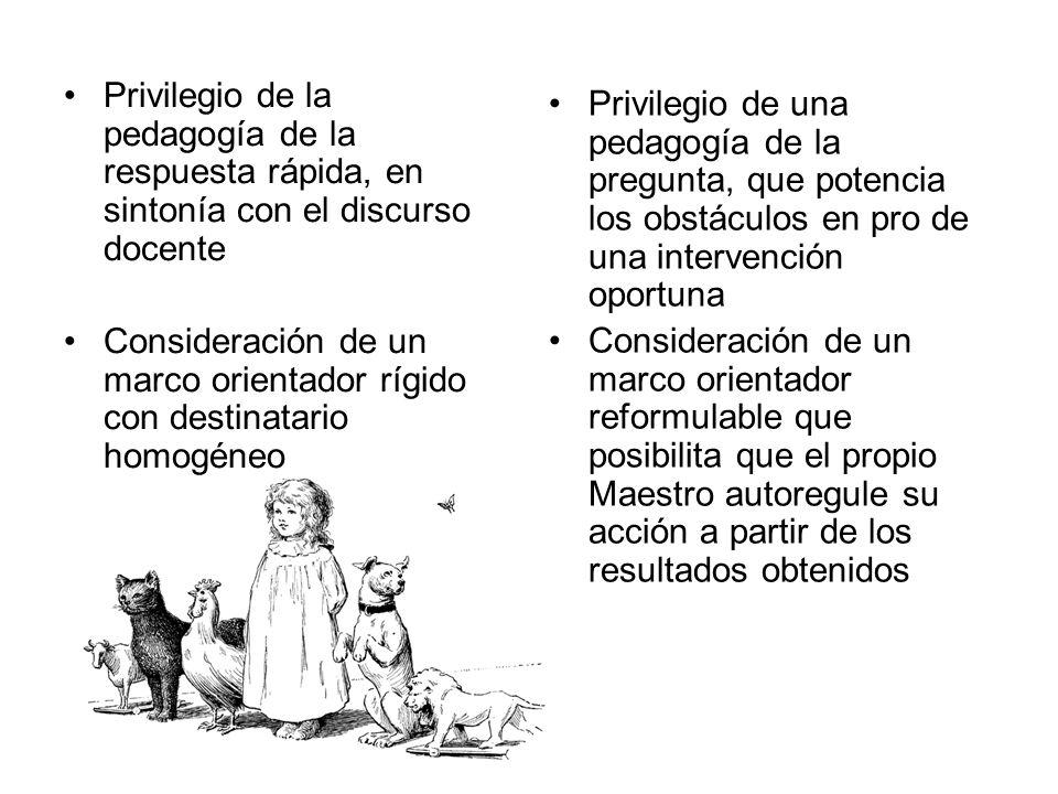 Privilegio de la pedagogía de la respuesta rápida, en sintonía con el discurso docente Consideración de un marco orientador rígido con destinatario ho