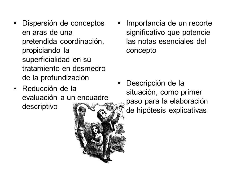Concepción de instrumentos en el marco de una evaluación en tanto cierre (de carácter sumativo) Perspectiva simplificadora donde no se reconocen estructuras conceptuales Determinación de situaciones de evaluación en concordancia con el modelo crítico, jerarquizando su valor formativo Perspectiva compleja que apunta al reconocimiento de sistemas de ideas