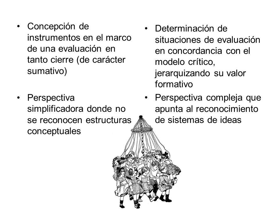 Concepción de instrumentos en el marco de una evaluación en tanto cierre (de carácter sumativo) Perspectiva simplificadora donde no se reconocen estru