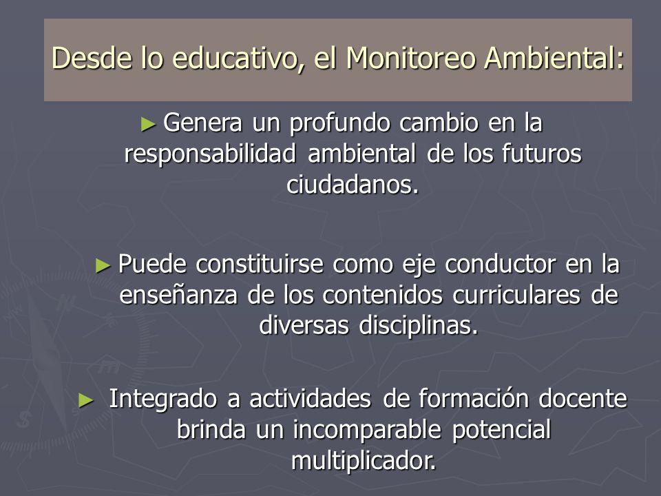 Desde lo educativo, el Monitoreo Ambiental: Genera un profundo cambio en la responsabilidad ambiental de los futuros ciudadanos. Genera un profundo ca