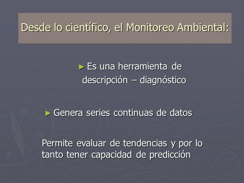 Desde lo científico, el Monitoreo Ambiental: Es una herramienta de Es una herramienta de descripción – diagnóstico Genera series continuas de datos Ge