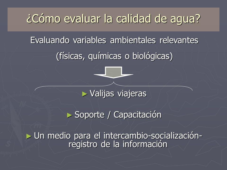 ¿Cómo evaluar la calidad de agua? Valijas viajeras Valijas viajeras Soporte / Capacitación Soporte / Capacitación Un medio para el intercambio-sociali
