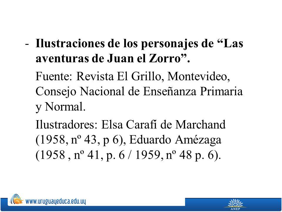 -Ilustraciones de los personajes de Las aventuras de Juan el Zorro. Fuente: Revista El Grillo, Montevideo, Consejo Nacional de Enseñanza Primaria y No