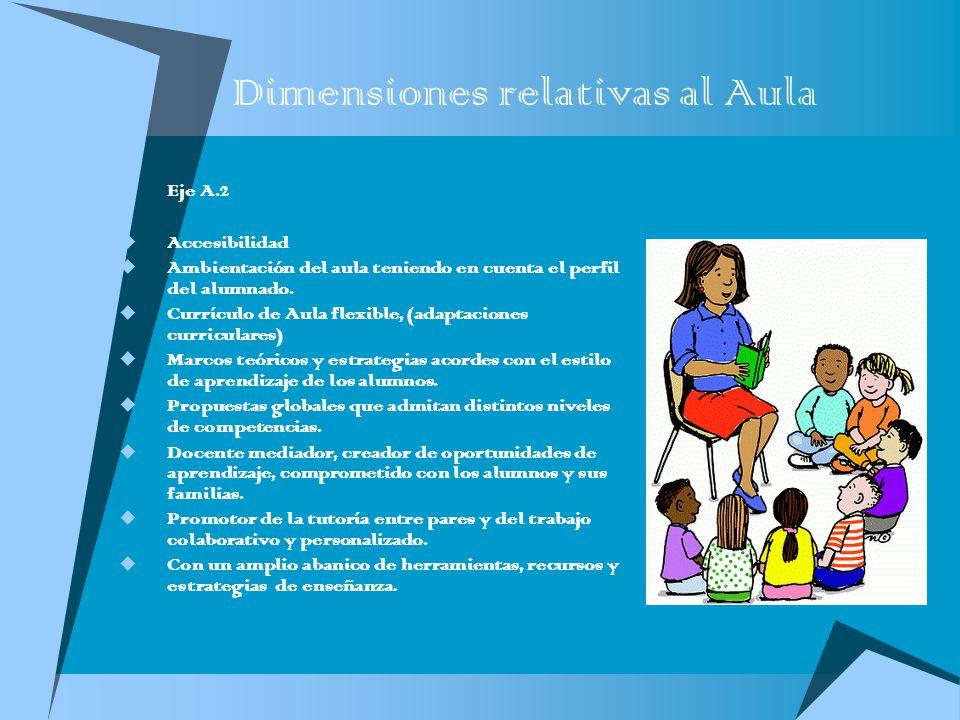 Dimensiones relativas al Aula Eje A.2 Accesibilidad Ambientación del aula teniendo en cuenta el perfil del alumnado. Currículo de Aula flexible, (adap