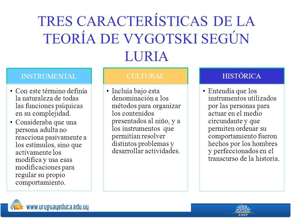TRES CARACTERÍSTICAS DE LA TEORÍA DE VYGOTSKI SEGÚN LURIA INSTRUMENTAL Con este término definía la naturaleza de todas las funciones psíquicas en su complejidad.