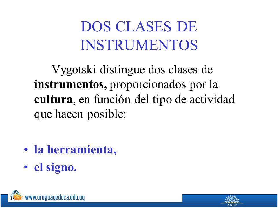 DOS CLASES DE INSTRUMENTOS Vygotski distingue dos clases de instrumentos, proporcionados por la cultura, en función del tipo de actividad que hacen posible: la herramienta, el signo.