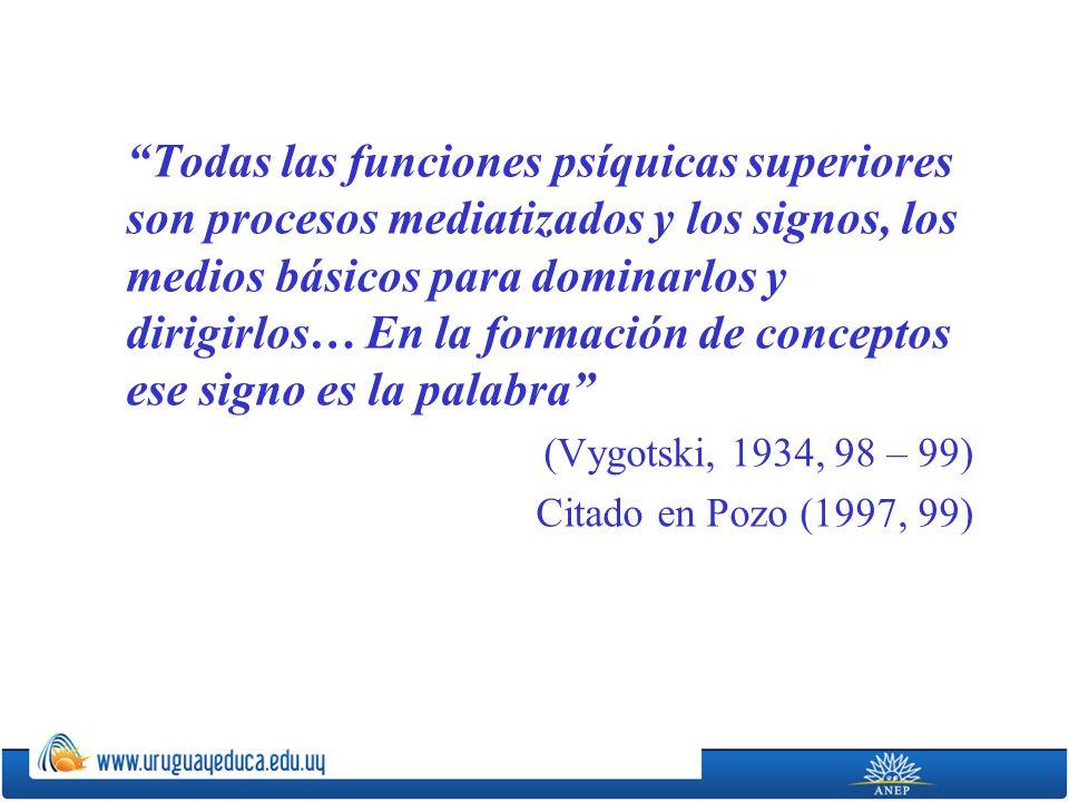 Todas las funciones psíquicas superiores son procesos mediatizados y los signos, los medios básicos para dominarlos y dirigirlos… En la formación de conceptos ese signo es la palabra (Vygotski, 1934, 98 – 99) Citado en Pozo (1997, 99)
