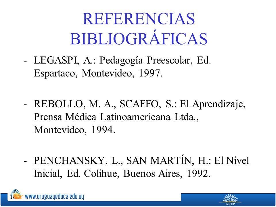 REFERENCIAS BIBLIOGRÁFICAS -LEGASPI, A.: Pedagogía Preescolar, Ed. Espartaco, Montevideo, 1997. -REBOLLO, M. A., SCAFFO, S.: El Aprendizaje, Prensa Mé