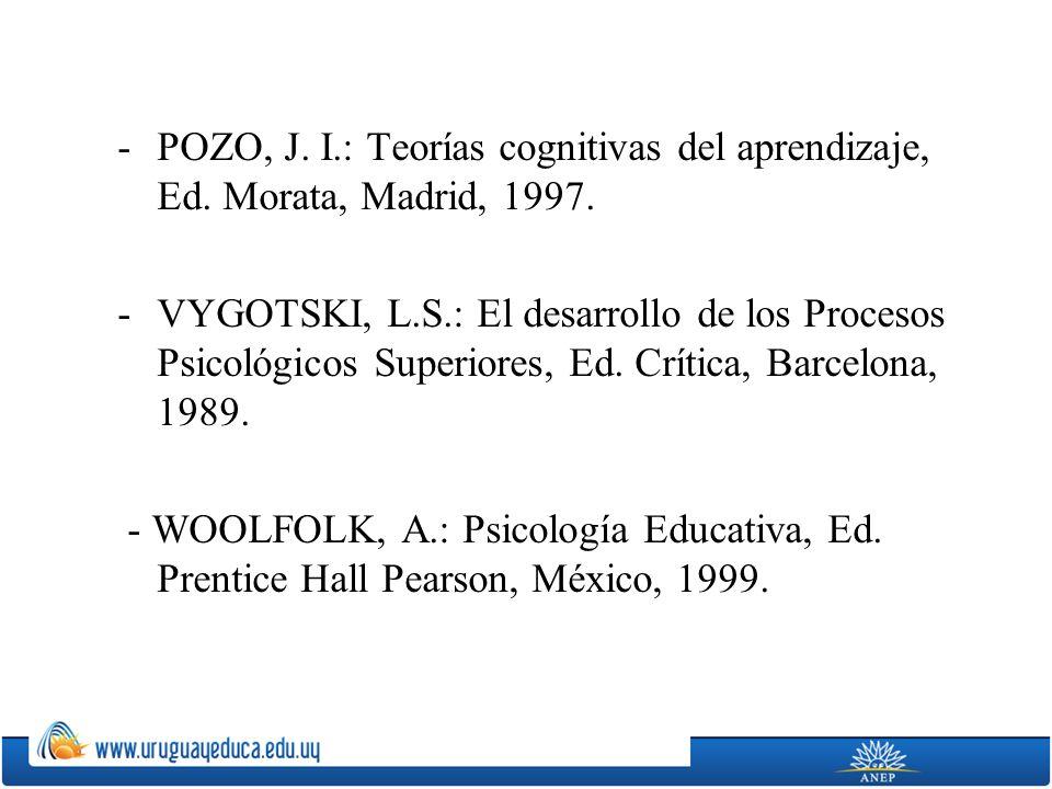 -POZO, J.I.: Teorías cognitivas del aprendizaje, Ed.
