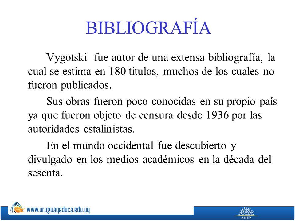 BIBLIOGRAFÍA Vygotski fue autor de una extensa bibliografía, la cual se estima en 180 títulos, muchos de los cuales no fueron publicados.