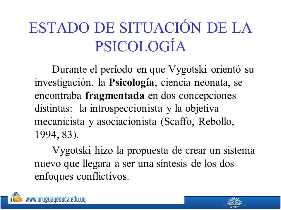ESTADO DE SITUACIÓN DE LA PSICOLOGÍA Durante el período en que Vygotski orientó su investigación, la Psicología, ciencia neonata, se encontraba fragmentada en dos concepciones distintas: la introspeccionista y la objetiva mecanicista y asociacionista (Scaffo, Rebollo, 1994, 83).
