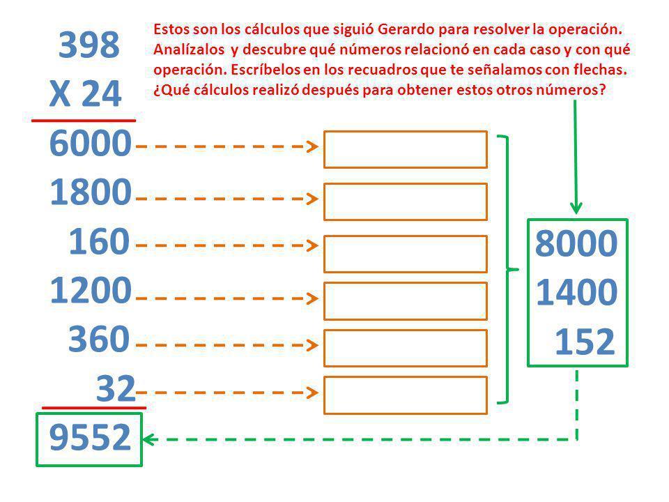 398 X 24 6000 1800 160 1200 360 32 9552 8000 1400 152 Estos son los cálculos que siguió Gerardo para resolver la operación. Analízalos y descubre qué