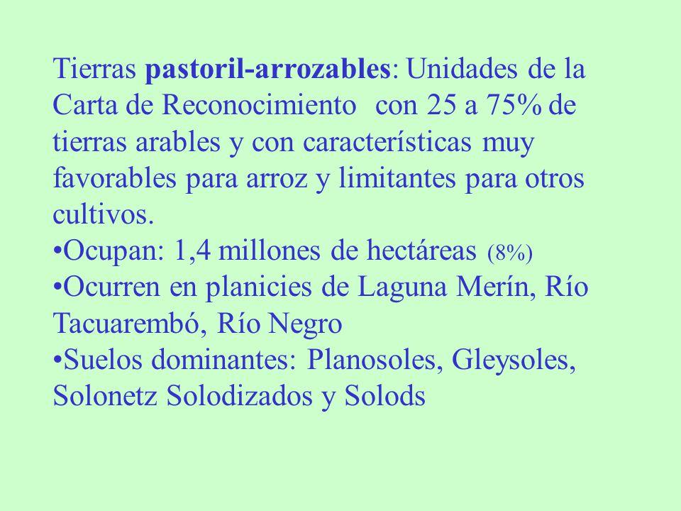 Tierras pastoril-arrozables: Unidades de la Carta de Reconocimiento con 25 a 75% de tierras arables y con características muy favorables para arroz y