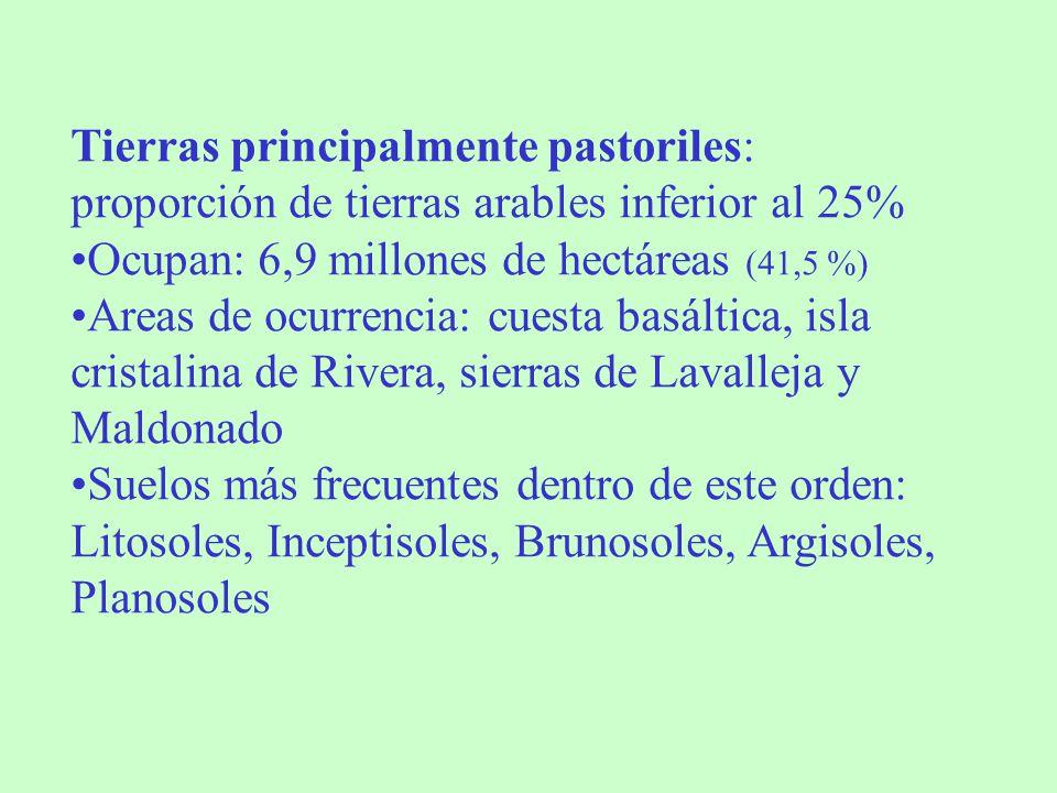 Tierras principalmente pastoriles: proporción de tierras arables inferior al 25% Ocupan: 6,9 millones de hectáreas (41,5 %) Areas de ocurrencia: cuest