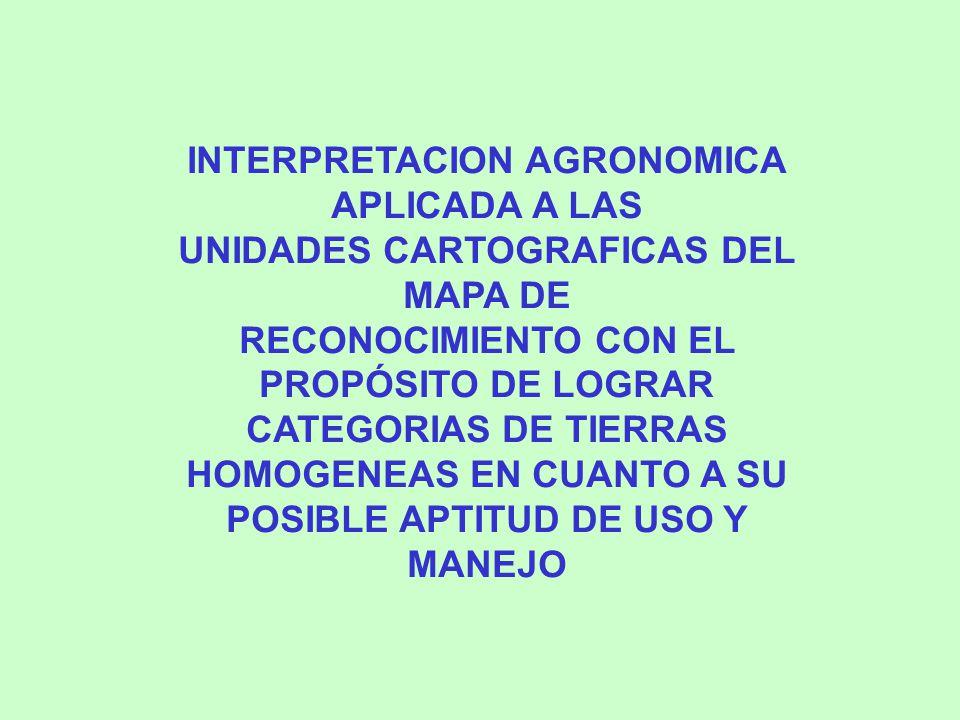 INTERPRETACION AGRONOMICA APLICADA A LAS UNIDADES CARTOGRAFICAS DEL MAPA DE RECONOCIMIENTO CON EL PROPÓSITO DE LOGRAR CATEGORIAS DE TIERRAS HOMOGENEAS