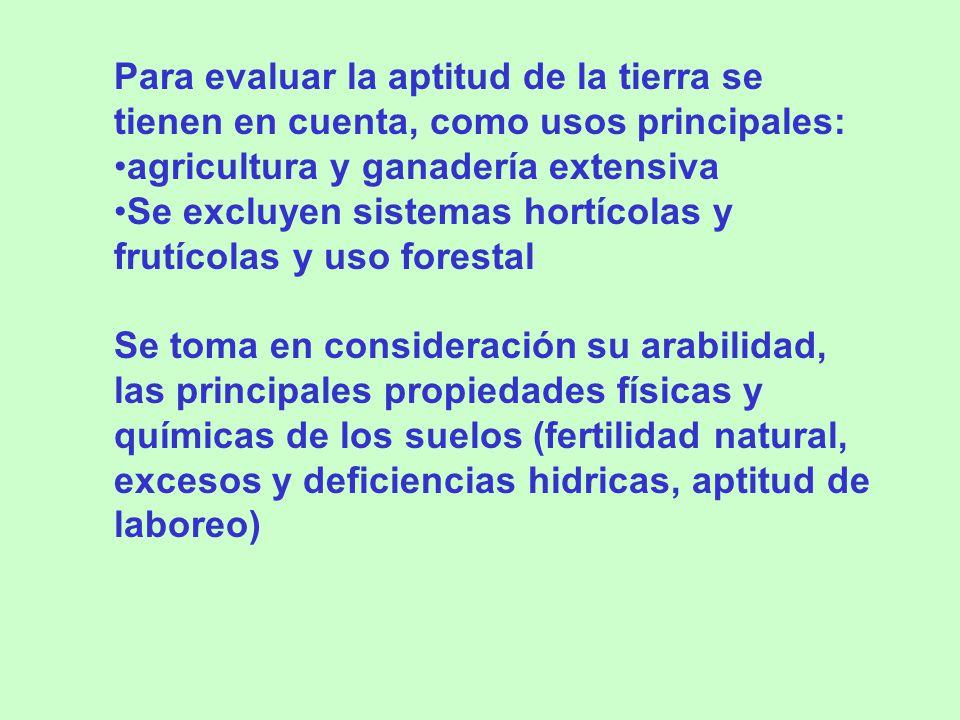 Para evaluar la aptitud de la tierra se tienen en cuenta, como usos principales: agricultura y ganadería extensiva Se excluyen sistemas hortícolas y f