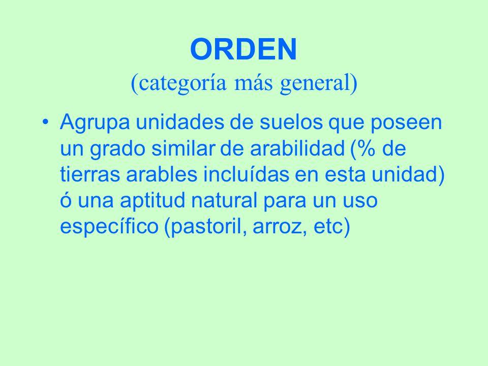 ORDEN (categoría más general) Agrupa unidades de suelos que poseen un grado similar de arabilidad (% de tierras arables incluídas en esta unidad) ó un
