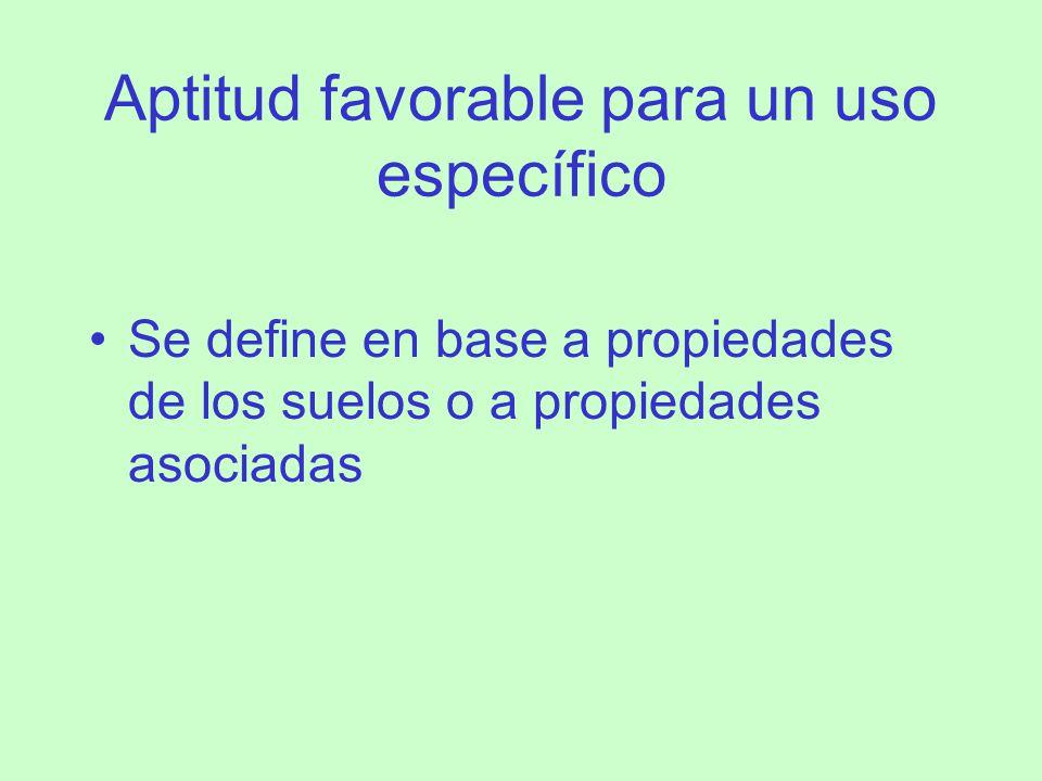 Aptitud favorable para un uso específico Se define en base a propiedades de los suelos o a propiedades asociadas