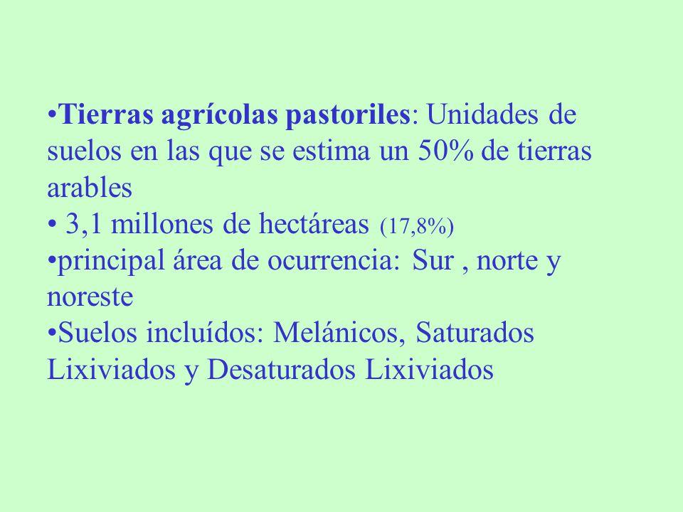 Tierras agrícolas pastoriles: Unidades de suelos en las que se estima un 50% de tierras arables 3,1 millones de hectáreas (17,8%) principal área de oc
